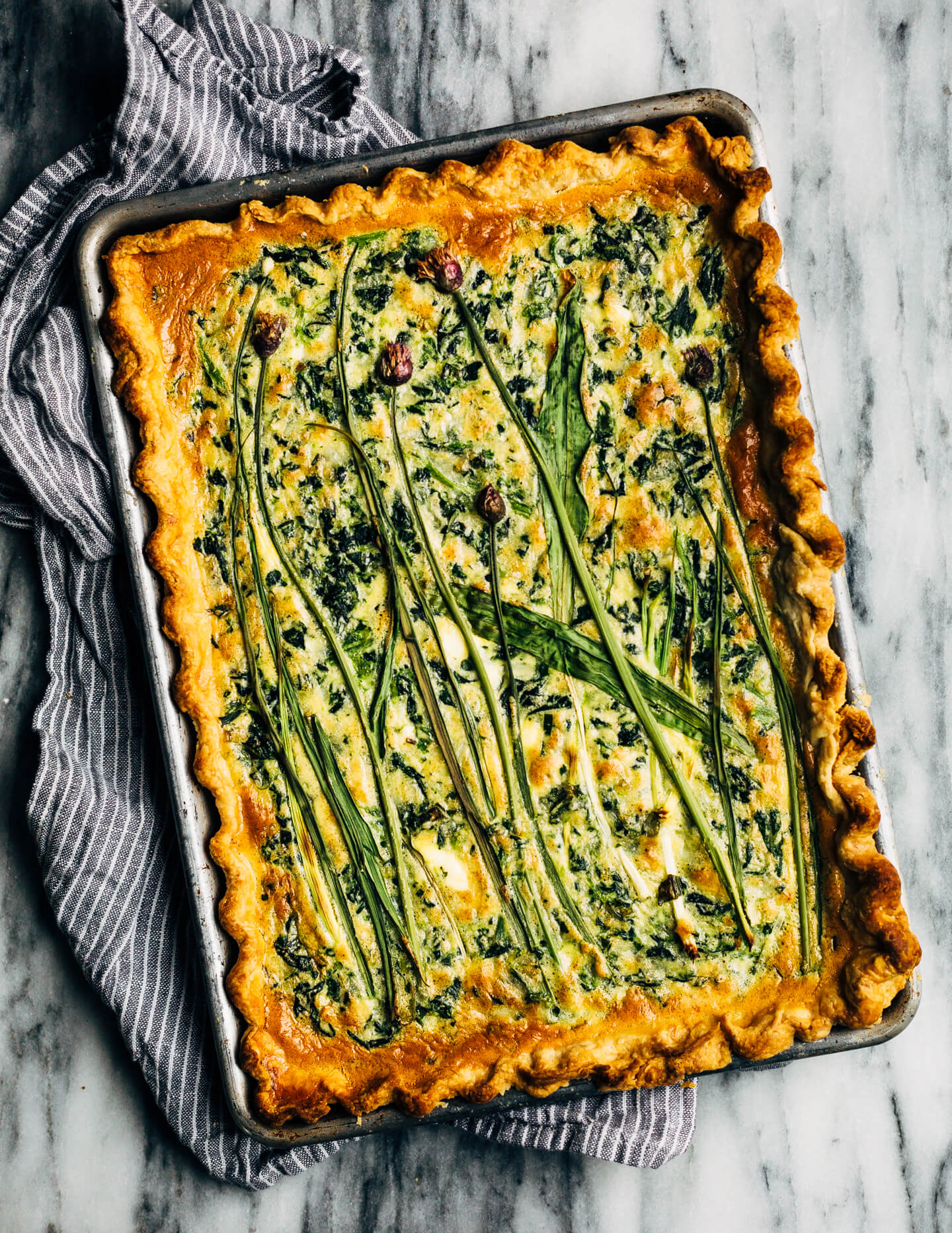 Sheet Pan Spinach Quiche With Ramps Green Garlic And Chive Blossoms