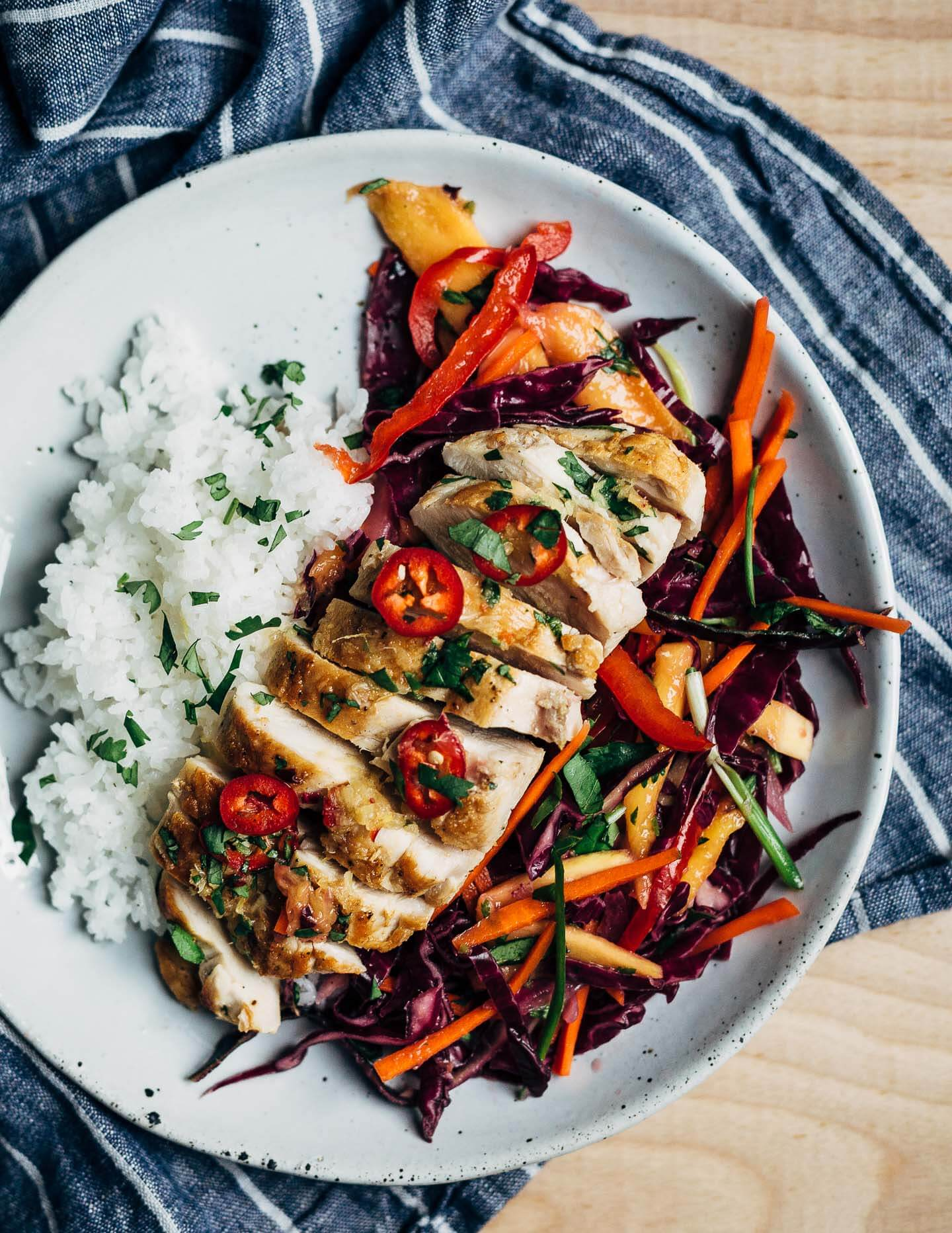 Meal Prep Chicken Breast With Thai Style Mango Slaw