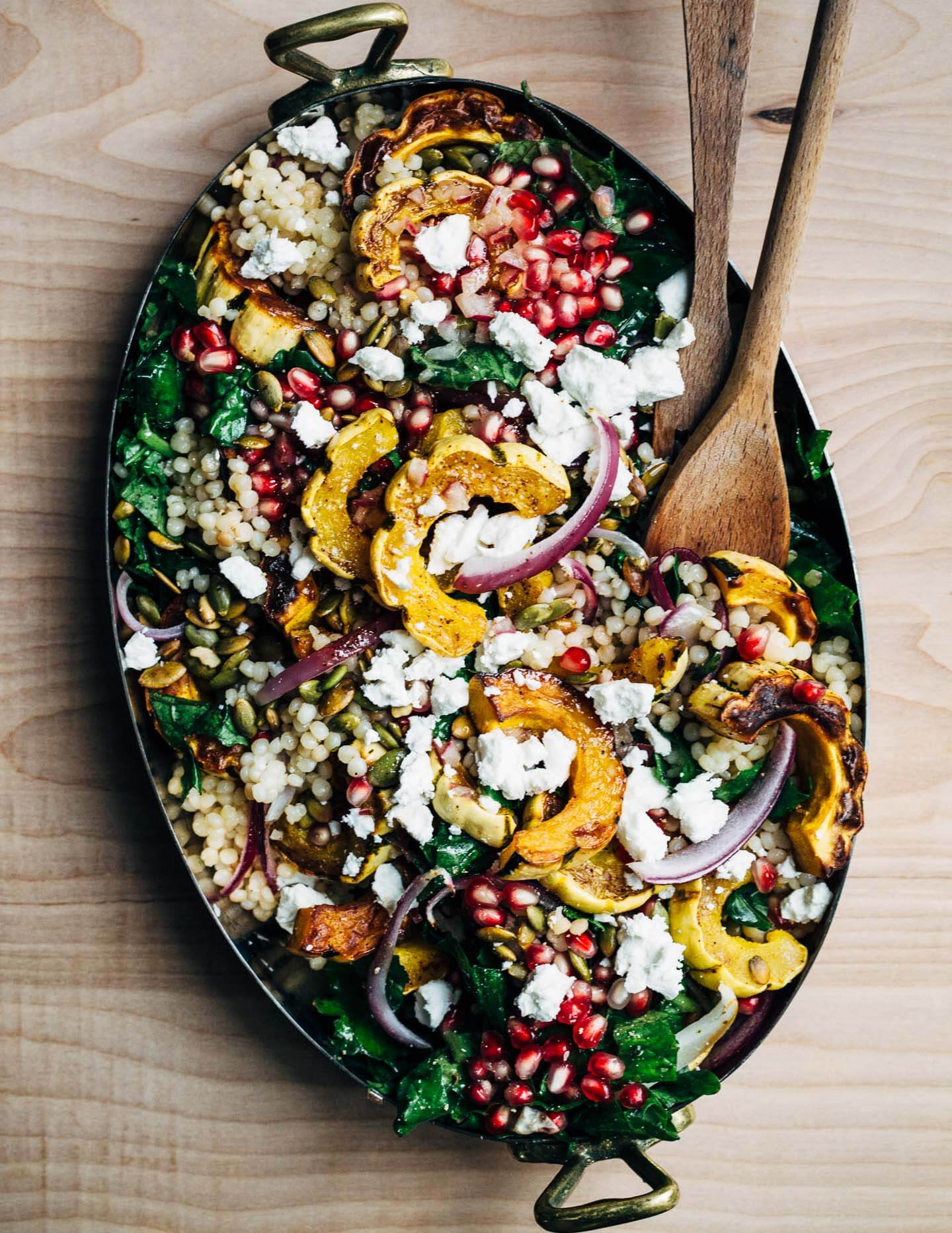 Pearl Couscous And Roasted Delicata Squash Salad With Kale And Pomegranate Brooklyn Supper