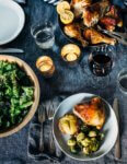 A simple and delicious holiday feast featuring crispy roasted spatchcock chicken with buttery sheet pan smashed potatoes and Brussels sprouts.