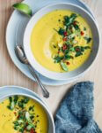 Vibrant flavors and stovetop ease make this simple cauliflower soup with turmeric and cumin an ideal counterpoint to winter's chill.