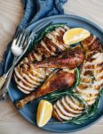 A sea salt, brown sugar, rosemary, and orange zest dry rub melds beautifully with the inherent flavor of an organic, free range broad breasted bronze turkey. This rosemary-orange roast turkey comes out of the oven with crisp, golden skin and suburb flavor.